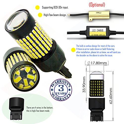 Preisvergleich Produktbild Wiseshine 7443 w21 5w t20 w3x16q 3000k autolampe led auto bulb DC9-30v 3 Jahre Qualitätssicherung (Satz von 2) 7443 144smd 3014 warmes Weiß