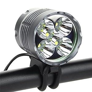 8000 lúmenes para bicicleta delanteros 5 x Cree T6 - Bombillas LED para bicicleta luz frontal impermeable con 8800 mAh Batería recargable de baterías de iones de litio y cargador de Reino, para Camping, Viajes, senderismo, pesca, Ciclismo