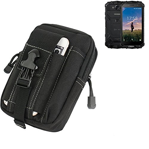 K-S-Trade Gürtel Tasche für Doogee S60 Gürteltasche Schutzhülle Handy Hülle Smartphone Outdoor Handyhülle schwarz Zusatzfächer