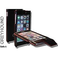 Caso móvil de cuero genuino abierto exclusivo en color negro/rojo para Apple iPhone 6/6S Más.