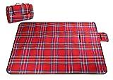 millya faltbar Picknick Decke, Camping Outdoor Beach Festival Wasserdichte Unterseite Picknick Teppich Matte 220 x 150cm rot rot