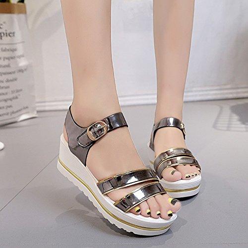 Lgk & fa estate sandali da donna d' estate con la pendenza con spessore fondo impermeabile piattaforma con S casual studente scarpe scarpe sandali Brown