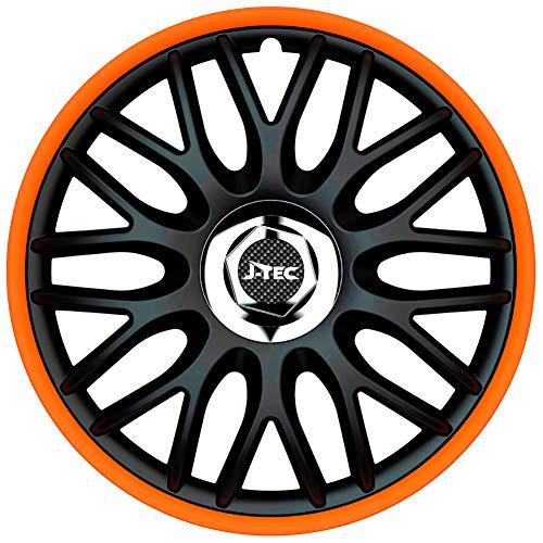 J-Tec J15519 - Juego de tapacubos, 15 Pulgadas, Color Negro y Naranja