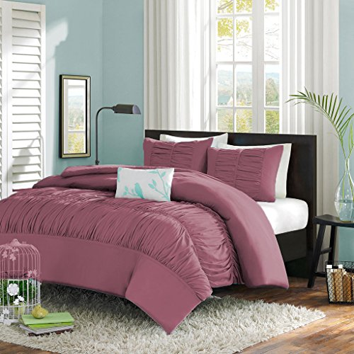 Scala SCALABEDDING Central Versammelt Rüschen Mimi mit Bettbezug/Tagesdecke mit Passender Kissenbezüge 5Teile Set 600TC Ägyptische Baumwolle Doppel-Lavendel -