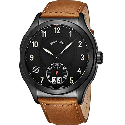 Philip Stein Men's 47mm Brown Calfskin Band Swiss Quartz Watch 17BSBKLCISCRP