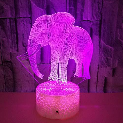 3D Óptico Illusions Led Lámparas Elefant Forma Usb Led Lámpara De Mesa...