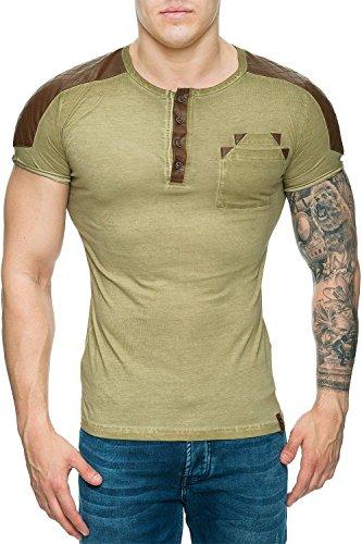 Tazzio Herren T-Shirt Longshirt Kurzarm Streetwear Disco-wear Dope Freizeit Sport Swag Stone