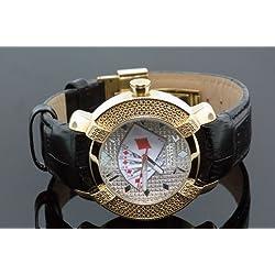 Aqua Master Yellow Gold Poker Face Mens Diamond Watch