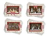 Weihnachtskarten-SET rot weiß kariert Holz-Optik 4 x 3 weihnachtliche Karten Weihnachten COUNTRY Klappkarten Grußkarten Glückwunschkarten natürlich MIT KUVERT OHNE TEXT