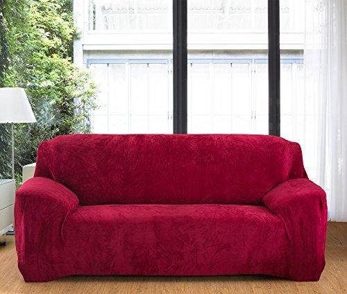 Copridivano spesso per sofà a 1/2/3/4 posti, colorato, in tessuto elasticizzato vellutato per un'aderenza perfetta e facile, wine red, 2 seater:145-185cm