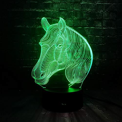 PDDXBB Kreative Tier 3D Pferdekopf 7 Farbe USB Lade Led Schlafzimmer Baby Schlaf Tisch Dekor Nacht Lampe Freunde Kinder Geburtstag Urlaub Geschenk Sieben Farbe 87 * 87 * 43 Mm (Taste)