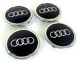 Set of four Audi Alloy Wheels Centre Hub Caps Black Covers Badge 69mm 8T0601170a Fits Audi set di quattro cerchi in lega Center Copricerchi NERO/chromab di mozzo distintivo copertura Tappi Mozzo 69mm Pas