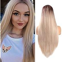 Ombre Rubia Pelucas rectas largas para las mujeres Aspecto natural Peluca sintética del pelo de la