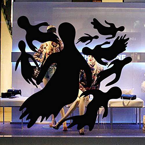 JXFY Creative Ghost Halloween Wandaufkleber Eco Schwarz 8er Pack Halloween Wandaufkleber 44x43cm