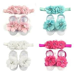 AllyDrew Baby Girl Barefoot Flower Sandals & Headbands Set