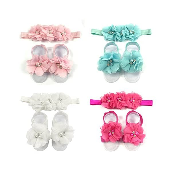 AllyDrew Baby Girl Barefoot Flower Sandals & Headbands Set