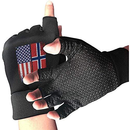 Guanti da Moto Vintage da Allenamento con Bandiera Norvegese Americana, Guanti da Dito Unisex, Antiscivolo, per Allenamento Sportivo