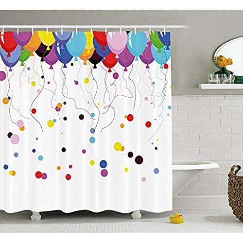 Yeuss Cortina de Ducha Abstracta, Ramo de Globos Volando en el Aire con círculos de Fiesta para niños, Tela para decoración de baño con Ganchos, 60 x 72 Pulgadas, 72'x80'(180cmx200cm)