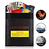 Bolsa protectora de documentos ignífuga e impermeable, para bateríasm dinero en efectivo, tarjetas, joyería, papeles, pasaporte, color negro - 18 x 23 cm (1 Piezas)