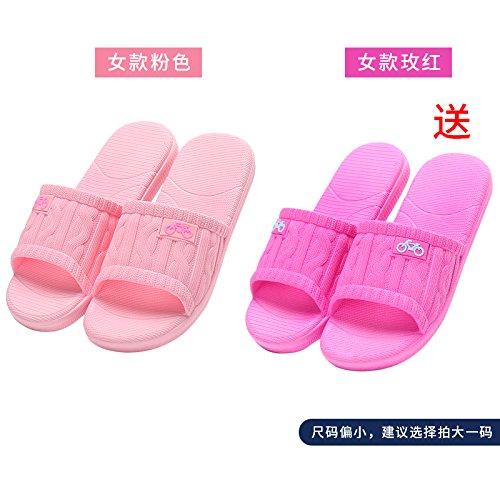 DogHaccd pantofole,Il bagno pantofole donne indoor estate anti-slip da bagno soggiorno di casa con un paio di pantofole fresca estate maschio Rosa3