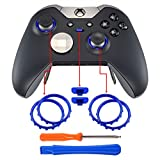 eXtremeRate® Matte Chrome Blue Profile Switch Buttons Accent Rings Accessories Parts for Xbox One Elite Controller Pack of 2