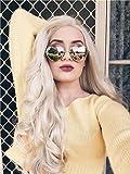 Die besten IMSTYLE Lace Front Perücken - imstyle Kunsthaar Aschblond grau Perücke lang lose gewellt Bewertungen