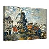 Tela Immagine - Claude Monet - Mulino a Vento sul Canale onbekende, Amsterdam 40x30cm - murale Antichi Maestri Foto su Tela Immagine su Tela pitture
