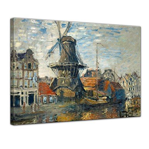 Bilderdepot24 Kunstdruck - Alte Meister - Claude Monet - Windmühle am Onbekende Kanal, Amsterdam - 60x50cm einteilig - Leinwandbilder - Bild auf Leinwand