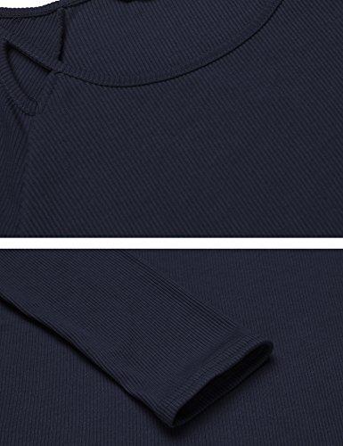 Parabler Damen Langarmshirt Pulli T-Shirt Rundhals Einfarbig Casual Tops Bluse Navyblau