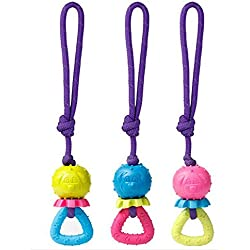 Goma Perro Juguete con cuerda para mascota masticar dientes y limpieza, Indestructible perro juguete pelota, 30cm, se vende por ainolway