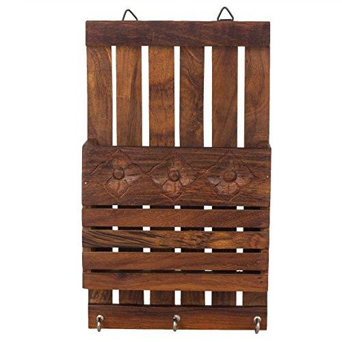 Fine Craft India Schlüssel- und Briefhalter aus Holz, gestreift, Braun