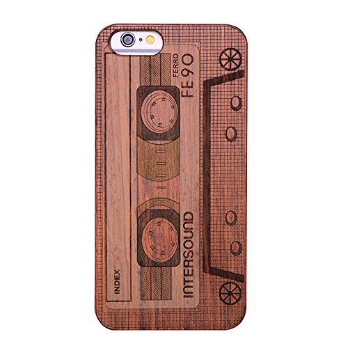 Forepin® Naturholz Hülle für iPhone 5 / 5G / 5S / SE,Ultra Dünne Echt Sandelholz und PC Hart Schale im Gravur Schnitzen Muster Elegantes Design Bumper Case Cover - Kompass Carving Muster Tonband