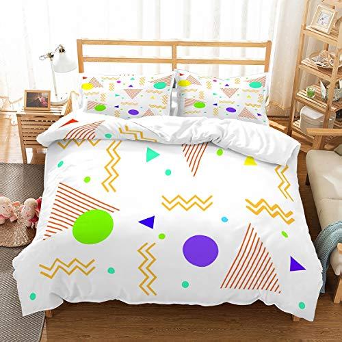 MOUMOUHOME Frische Sommer Bettwäsche 3D Geometrische Designs Kreise Dreiecke Kurven Lila/Grün/Gelb/Blau Druck Weiß Bettbezug-Set für Kinder,Jungen und Mädchen,3 Stück mit 2 Kissenbezug - Und Tröster Lila Grün