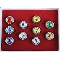 NuoYa005 NEW 10PCS Naruto Rings Black Akatsuki Ring Set Sasori Itachi Hidan Deidara Cosplay members Ring
