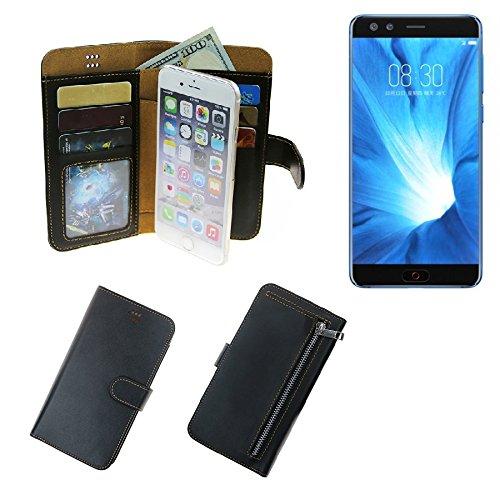 K-S-Trade® Für Nubia Z17 Mini S Schutz Hülle Portemonnaie Case Phone Cover Slim Klapphülle Handytasche Schutzhülle Handyhülle Schwarz Aus Kunstleder (1 STK)