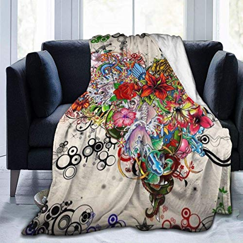 "Inontime Decke Flowers Heart - Flannel Fleece Blanket Super Soft Cozy Warm Throw Blanket Microfleece Blanket for Couch Home Bed Sofa Chair, Easy Care, All Season Use,Queen Size 80""x60\"""