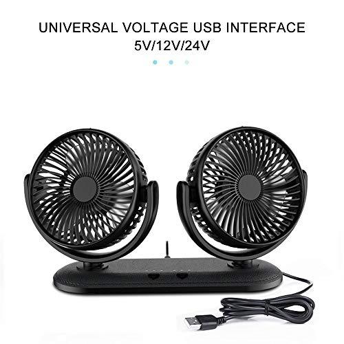 HR Auto Ventilator Doppellüfter Vertikal und Horizontal Einstellbar Ventilator, Klimaanlage Fan für Auto, Haus, Büro Fan mit 360° drehbare 24v 1 Hr-fan