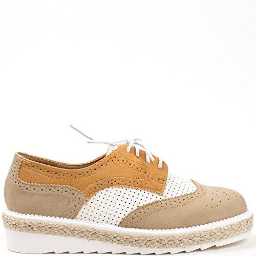 Ideal Shoes, Chaussures À Lacets Pour Femmes Brown
