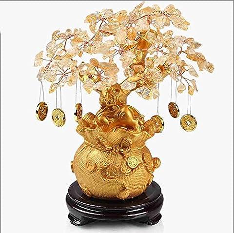 Artisanat arbre Décoration Résine Cristal jaune Accueil salon Entrée TV Décoration de l'armoire à vin Créative Lucky Ouvert bureau d'étude de cadeau