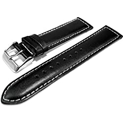 Black Genuine Leather Padded Watch Strap Band 20mm