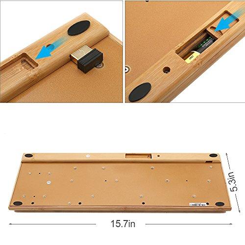 kabellose Bambus Tastatur und Maus - 5