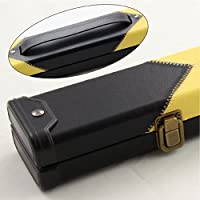 Luxury BLACK & YELLOW DIAMONDS 2pc Leather Patch Effect Snooker Pool Cue Case
