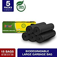 Ezee Bio-degradable Large Garbage Bags/Trash Bags/Dustbin Bags (24 X 32 Inches) Pack of 5 (75 Pieces) 15 Pcs Each Pack