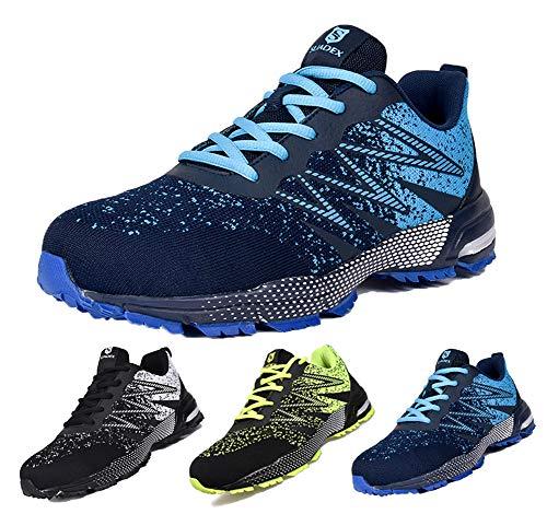 SUADEEX Sicherheitsschuhe Herren S3 Arbeitsschuhe Leicht Atmungsaktiv Sportlich Reflektierende Schutzschuhe mit Stahlkappen Schuhe,Blau,43 EU
