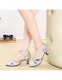 XPY&DGX Zapatos de baile latino en el adulto de tacón cuadrado plata hembra zapatos de baile Zapatos de baile de gran tamaño con zapatos de baile moderno,