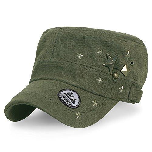 ililily Baumwolle Militär Brass Studs Kadett Cap Flex-fit Armee Stil Hut , Olive Green (Militär Hut Olive)