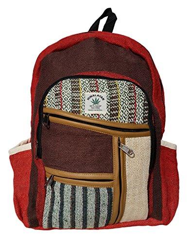 Handgemachter Rucksack / Daypack / Backpack aus natürlichem Hanf mit Laptop-Tasche - UNISEX - MADE IN NEPAL (Red Forrest) (Baumwoll-canvas Natürliche Rucksack)
