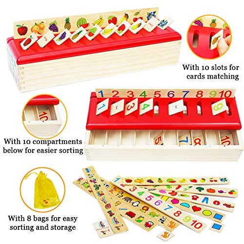 Toys of Wood Oxford Caja de clasificación de madera - Juguetes de clasificación con tarjetas de madera y letras para alfabetos, números, colores y formas - Juguetes educativos de madera por 1 año
