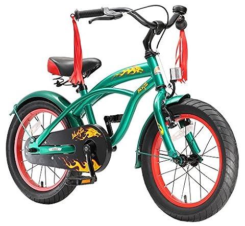 BIKESTAR® Premium Vélo pour enfants à partir d'env. 4-5 ★ Edition Deluxe Cruiser 16 ★ Couleur Vert