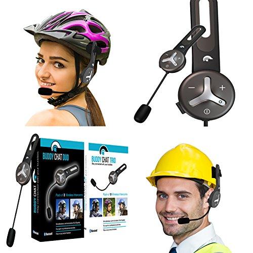 BuddyChat Duo - 2er Set Bluetooth 3.0 Helm Headset Gegensprechanlage Intercom 1km Reichweite Freisprechanlage Kommunikationssystem Sport Freizeit Smartphone Handy Freisprecheinrichtung Fahrrad Bike